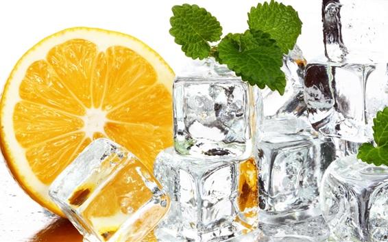 Papéis de Parede Cubos de gelo, laranja, hortelã