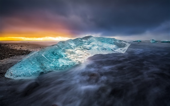 Wallpaper Ice, sea, coast, sunset, Iceland