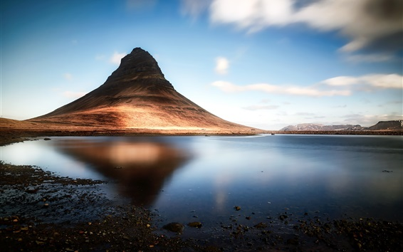 Wallpaper Iceland, Kirkjufell mountain, lake, shadow