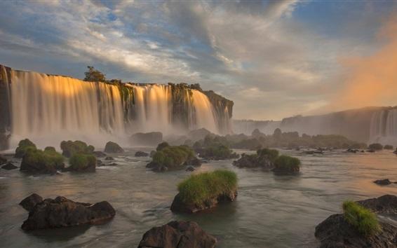 Fondos de pantalla Parque Nacional Iguazú, Brasil, Paraná, cascada, atardecer