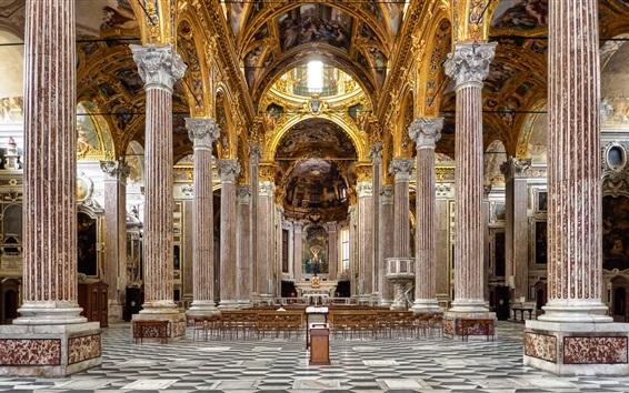 Papéis de Parede Itália, Basílica, colunas, bancada, corredor