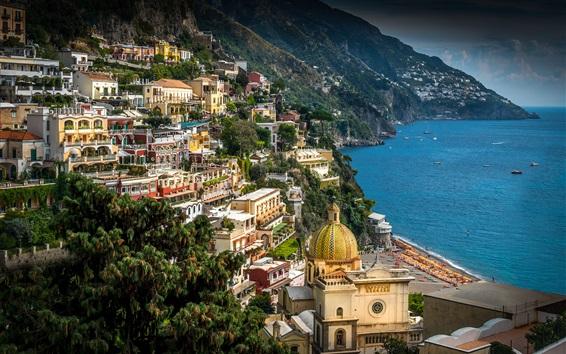 Fond d'écran Italie, Campanie, Côte amalfitaine, Positano, Ville, Mer