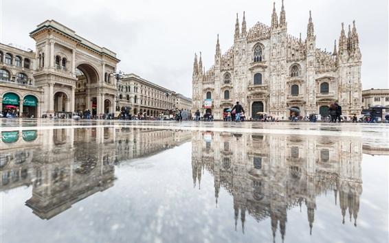 Обои Италия, Кафедральный собор, Милан, отражение воды