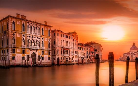 Обои Италия, Венеция, собор, река, дома, вечер