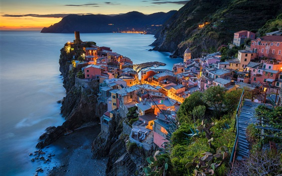 Wallpaper Italy, Vernazza, Cinque Terre, Liguria, houses, lights, sea, night