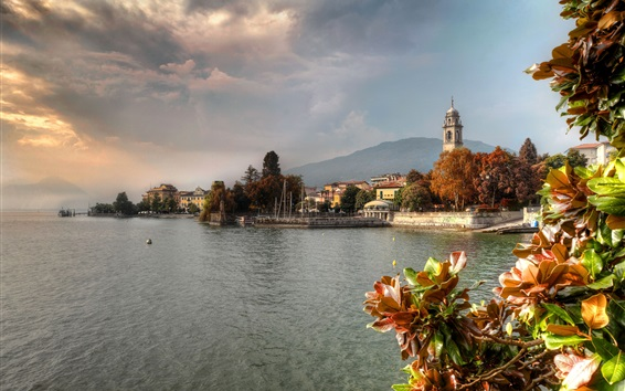 Wallpaper Italy, lake, trees, houses, city, clouds