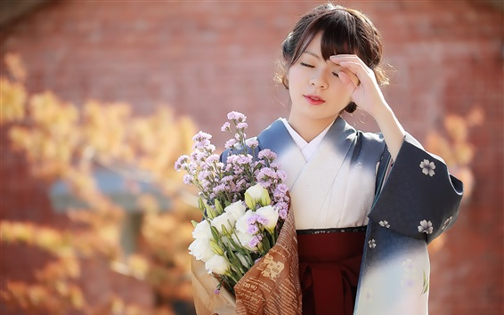 Fondos de pantalla Niña japonesa, flores, kimono