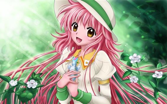 Wallpaper Kobato, pink hair anime girl, hat, flowers