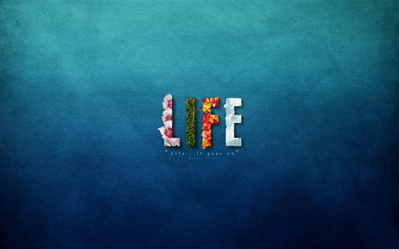 Обои Жизнь, синий фон, креативный дизайн