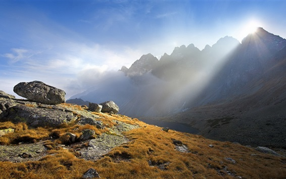 Wallpaper Light beams, mountains, stones, morning