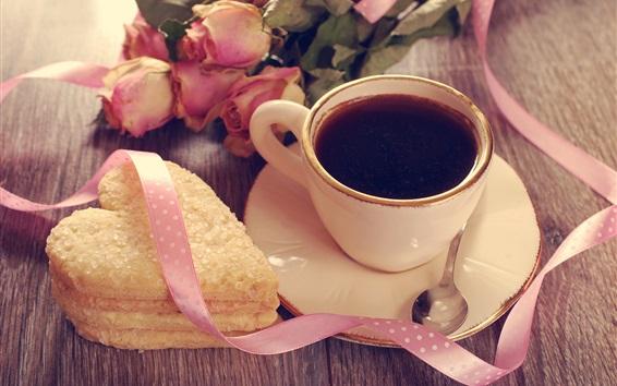 Wallpaper Love heart cookies, cup, coffee, rose, ribbon