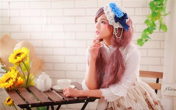 Wallpaper Lovely Asian girl, tea, table