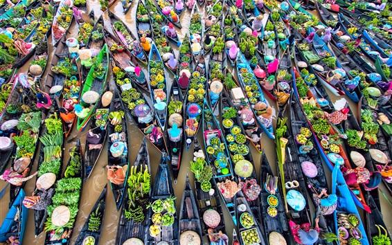 Wallpaper Many boats, river, water, women, fruit market