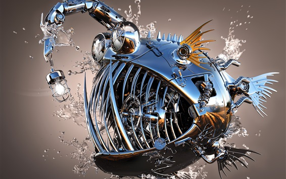 Wallpaper Metal fish, 3D design
