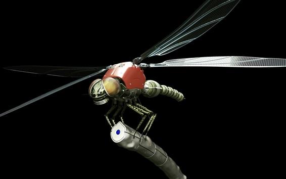Wallpaper Metal robot dragonfly, black background, creative design