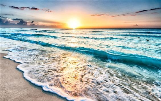 Обои Мексика, море, побережье, пляж, волны, закат