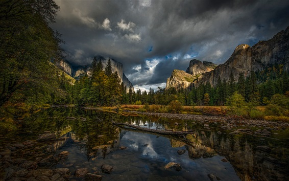 Wallpaper Mountains, trees, river, clouds, Yosemite National Park, USA