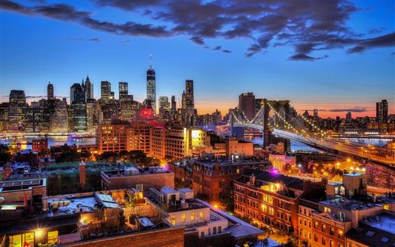 Обои Нью-Йорк, Бруклинский мост, Манхэттен, Один Всемирный торговый центр, город, ночь, огни