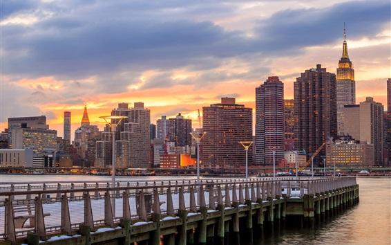 Papéis de Parede Nova Iorque, EUA, arranha-céus, cais, anoitecer