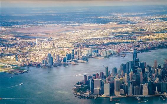 Fond d'écran New York, gratte-ciel, vue de dessus, ville, États-Unis