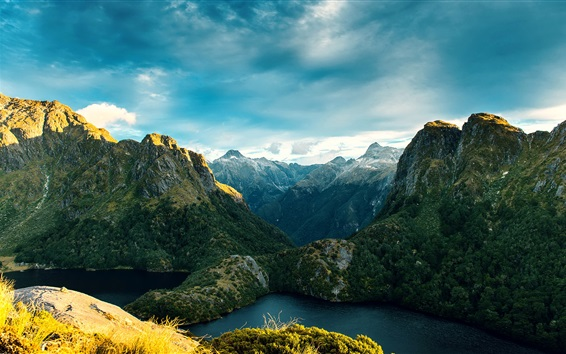 Wallpaper New Zealand, Fiordland National Park, mountains, river, valley