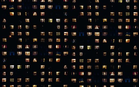 Wallpaper Night, houses, windows, light