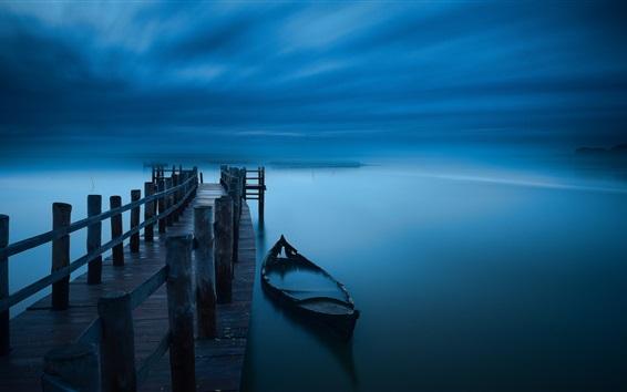 Fond d'écran Nuit, jetée, bateau, lac