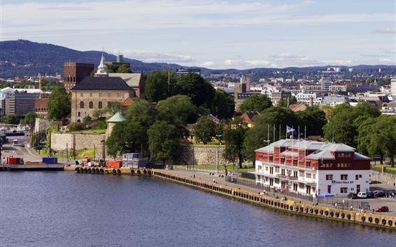 壁紙 ノルウェー、オスロ、建物、樹木、都市、川