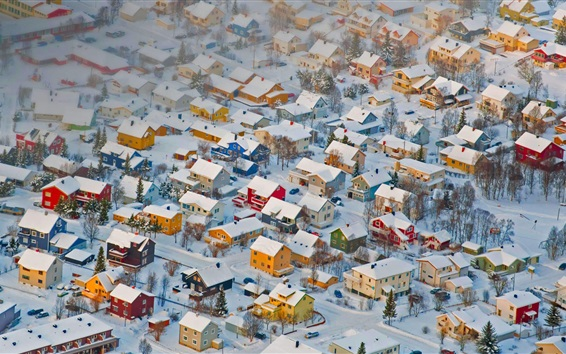 Wallpaper Norway, Tromso, winter, snow, houses, city