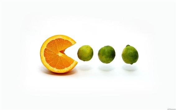 Wallpaper Orange eat lemon, white background