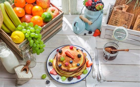 Wallpaper Pancakes, apples, oranges, grapes, bananas, lemon