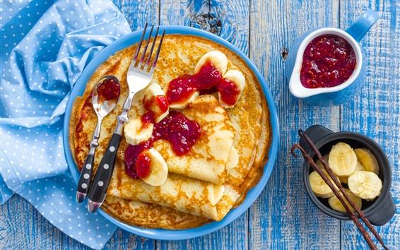 Обои Блины, бананы, варенье, завтрак