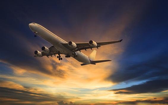 Обои Полет пассажирского самолета, небо, облака, вид снизу