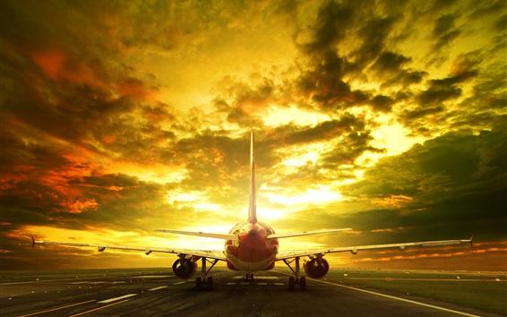 Papéis de Parede Avião de passageiros, pista, vista traseira, noite, brilho, nuvens