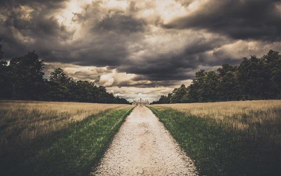 Wallpaper Path, grass, clouds, house