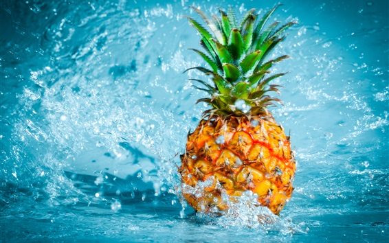Wallpaper Pineapple Falling In Water Splash Hd Picture