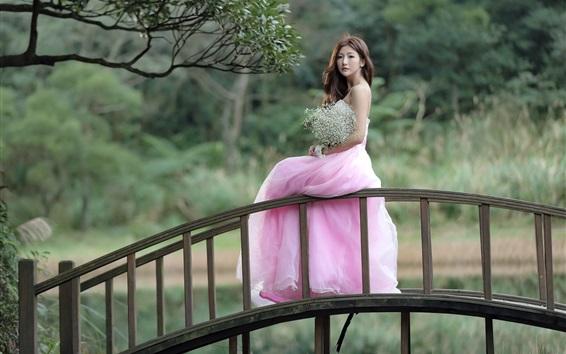 Wallpaper Pink dress Asian girl stand on bridge