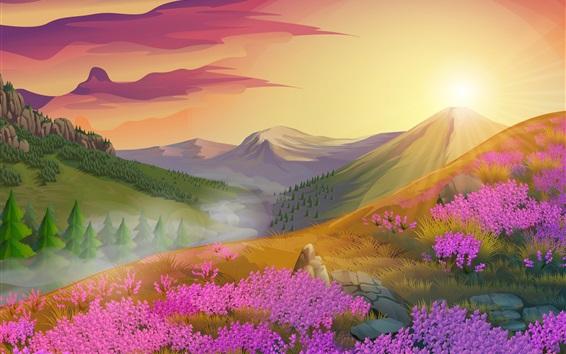 Wallpaper Pink flowers, mountains, sun, nature landscape, vector design
