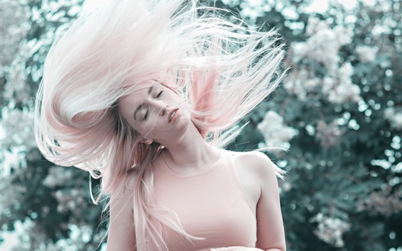 Wallpaper Pink hair girl, hairstyle, wind