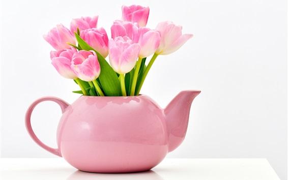 壁紙 ピンクのチューリップ、花瓶、白い背景