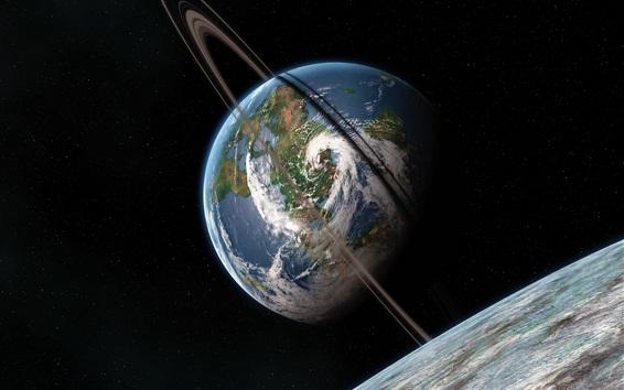 Fond d'écran Planètes, terre, espace, fond noir