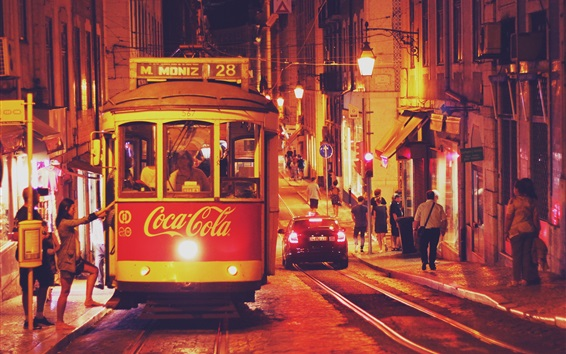 Wallpaper Portugal, Lisbon, tram, city, night, road, people, buildings