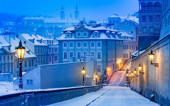 Fond d'écran Prague, nuit, lumières, chemin, maison, neige, hiver