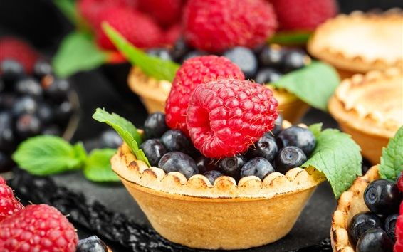 Wallpaper Raspberry, blueberries, tartlets, food