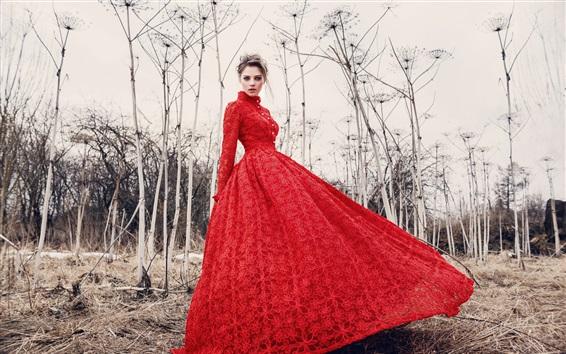 Hintergrundbilder Red Kleid Mädchen Modell, Bäume
