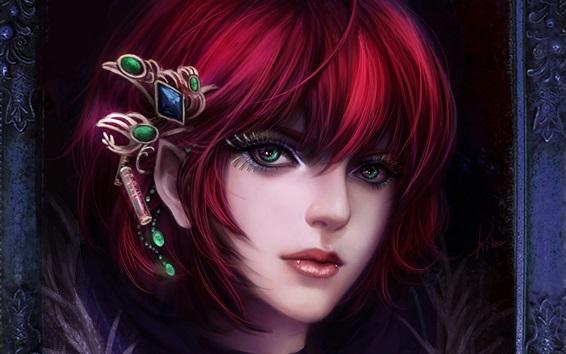 Papéis de Parede Menina de fantasia de cabelo vermelho, rosto