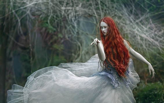 Wallpaper Red hair girl, forest, pose