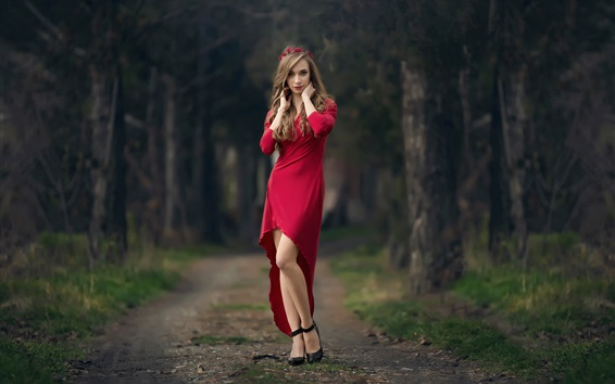Wallpaper Red skirt girl, wreath, trees, path