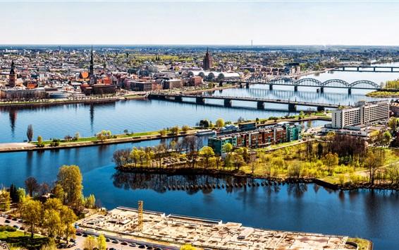 Papéis de Parede Riga, Letónia, cidade, rio, ponte, casas