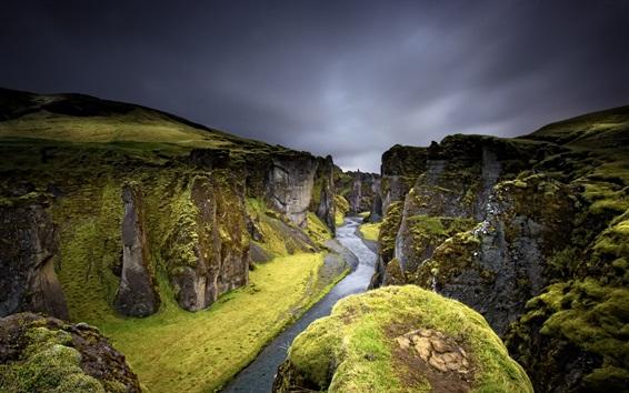 Wallpaper River, canyon, rocks, dusk